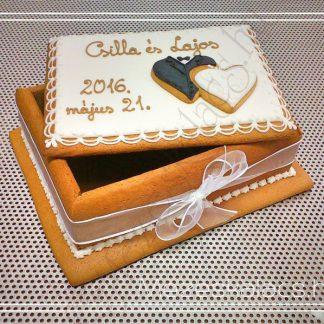 Mézeskalács doboz torta esküvőre