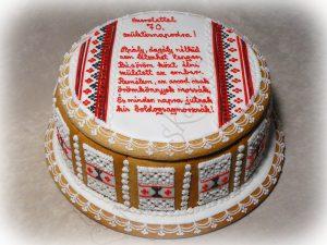 Mézeskalács doboz torta sárközi mintával