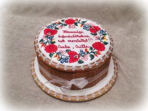 Normál mézeskalács doboz torta, kalocsai körindával