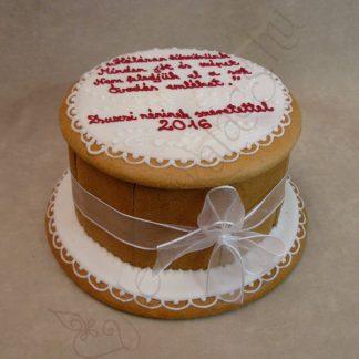 Zsúr mézeskalács doboz torta, bordó-fehér