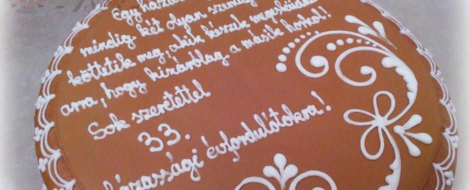 Mézeskalács ajándék doboz 33. házassági évfordulóra
