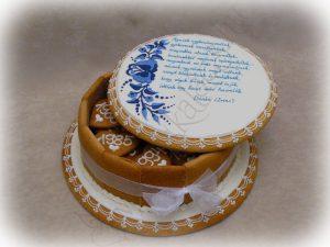 Mézeskalács ajándékdoboz, öreg-kalocsai dísz, tollal írva