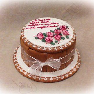 Zsúr mézeskalács doboz torta, rózsával