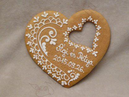Esküvői mézeskalács szív