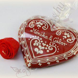 Valentin napi mézeskalács szív és gyertya