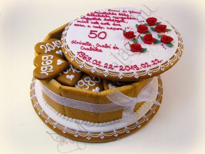 Rózsás mézeskalács doboz torta