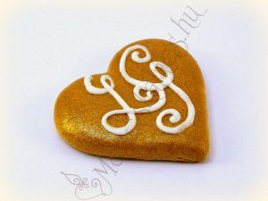 Arany alapon fehérrel mézeskalács szív
