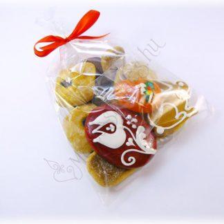 Húsvéti mézeskalács csomag puszedlivel, nyuszival, hímes tojással és narancs színű kézműves viasz tojás hűtőmágnessel